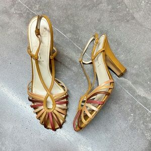 Casadei Italy Strappy Leather Heels Size 10